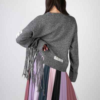 Claw Fringe Sweater, grey