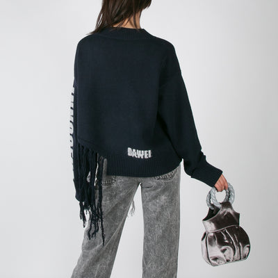 Claw Fringe Sweater, navy