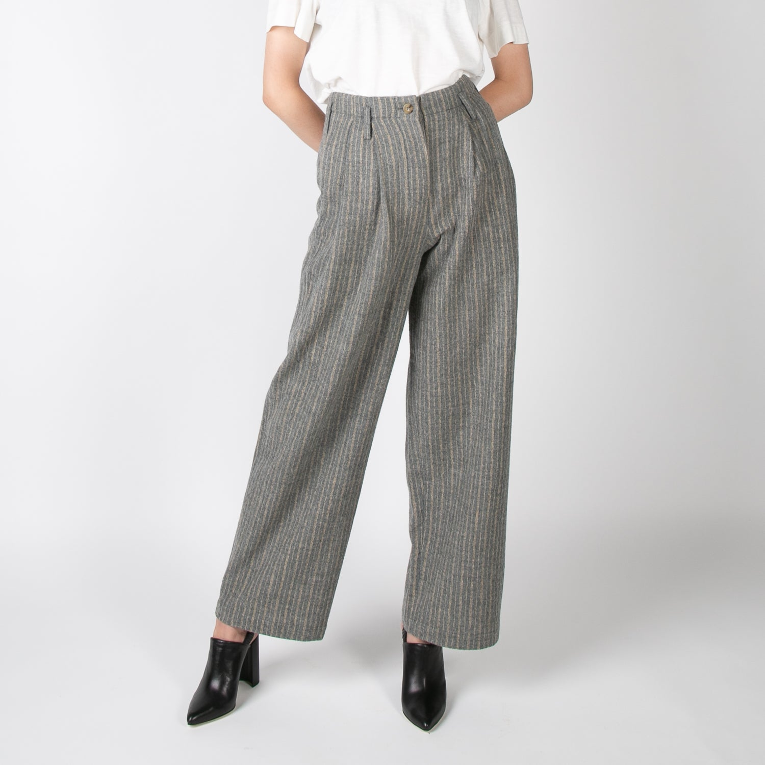 grey and yellow stripped wool pants by Dawei at Secret Location