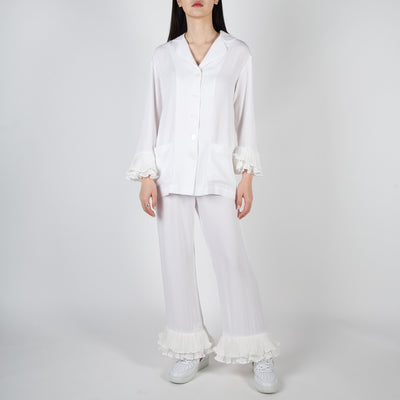White pajama set with ruffles by Sleeper at Secret Location