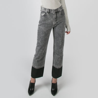 Grey acid wash denim with black hemline by Ssheena at Secret Location
