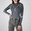Long sleeve grey jumper with tonal stitching by Ssheena at Secret Location