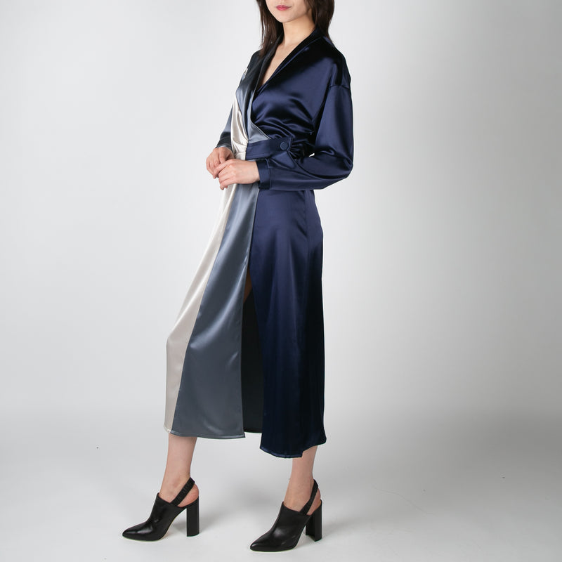 women's satin two-tone robe with straps by Ssheena at Secret Location