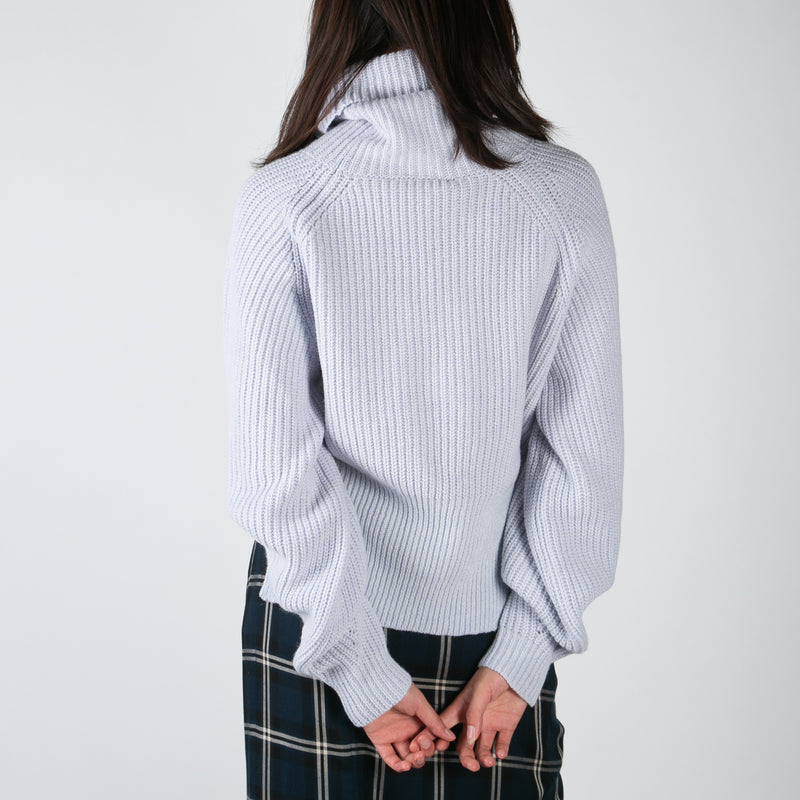women's knitted sweater turtleneck in light blue by Ssheena at Secret Location