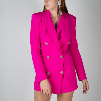 Double breasted blazer mini-dress in pink by Attico at Secret Location