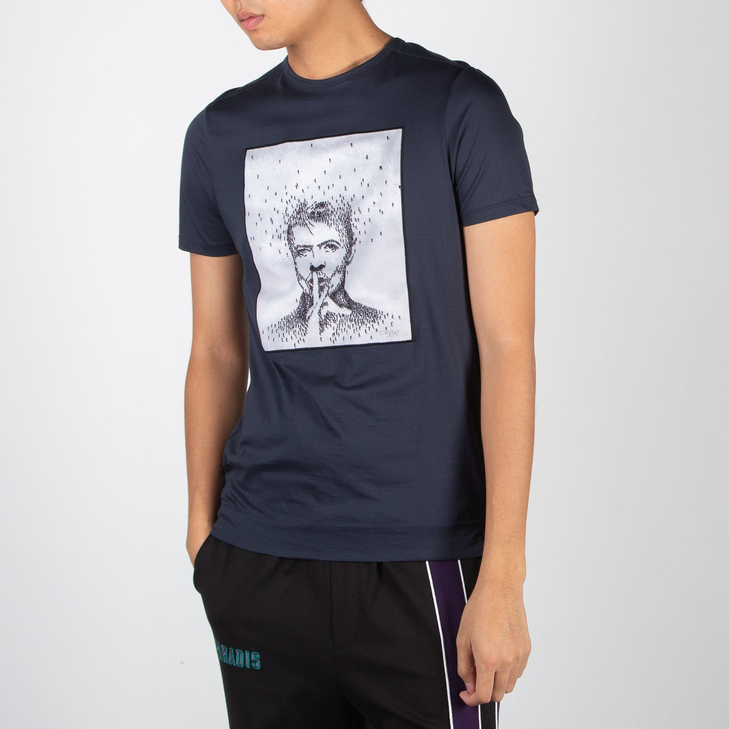 Printed David Bowie navy t-shirt captured by Craig Alan by Limitato at Secret Location