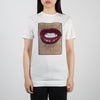 Printed red lips on white t-shirt captured by Sara Pope by Limitato at Secret Location