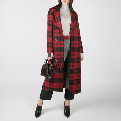 women's black and red tartan plaid long coat by Mother of Pearl at Secret Location