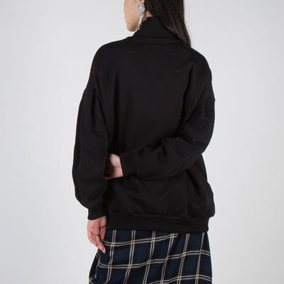 Sweatshirt with High Rib Neck & Tucked Sleeves
