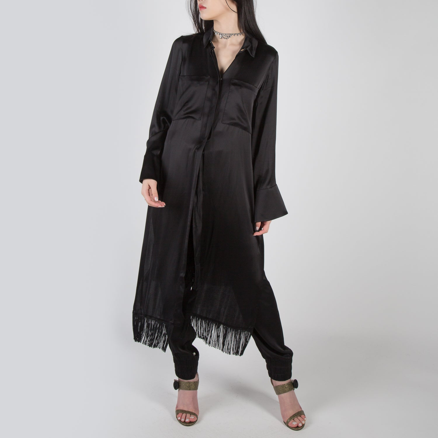 Long fringe shirt with waist tie by Mother of Pearl at Secret Location