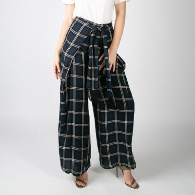 two-layer navy and white checkered wide leg trousers by Mother of Pearl at Secret Location