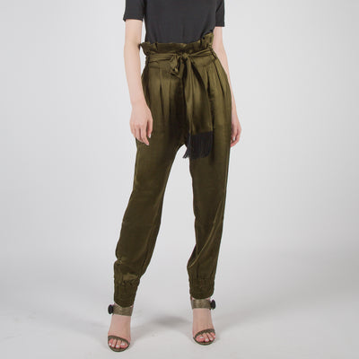 high-waist joggers in green satin by Mother of Pearl at Secret Location