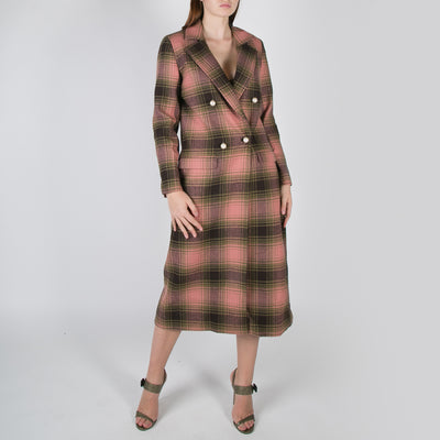 women's double breast long coat in pink checkered plaid by Mother of Pearl at Secret Location