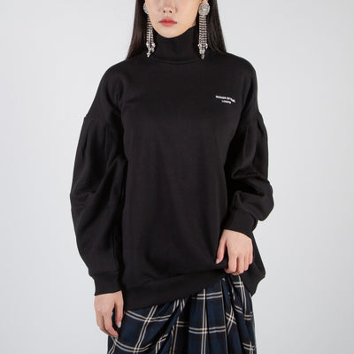 funnel neck long sleeve pullover in black by Mother of Pearl at Secret Location