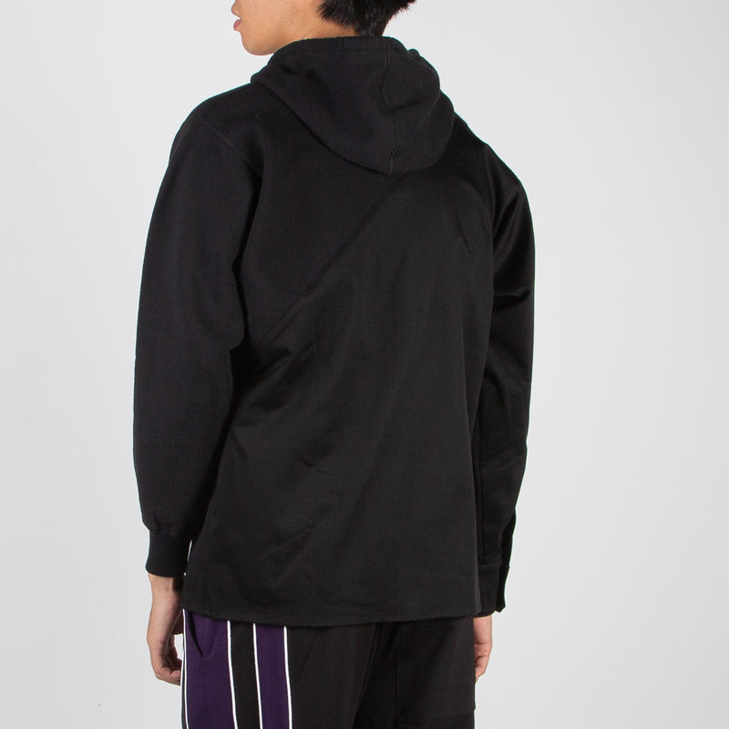 Spliced hoodie-shirt in black by 3.Paradis at Secret Location