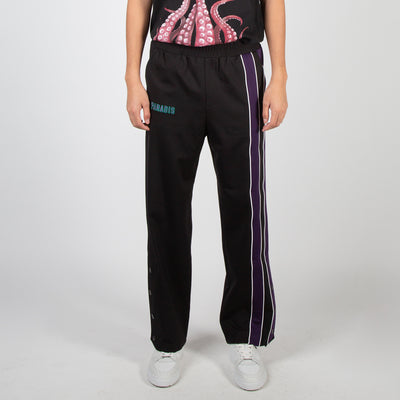 Black track pants with purple and white stripe by 3.Paradis at Secret Location