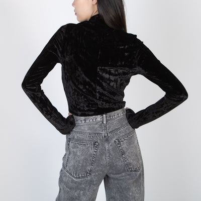 Washed Velvet Turtleneck, black
