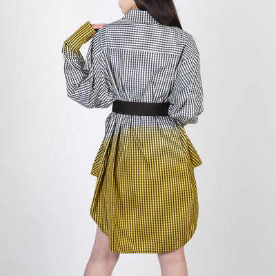 Dipped Checkered Blouse