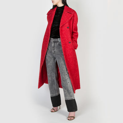 Red furry wrap coat with belt by Frenken at Secret Location