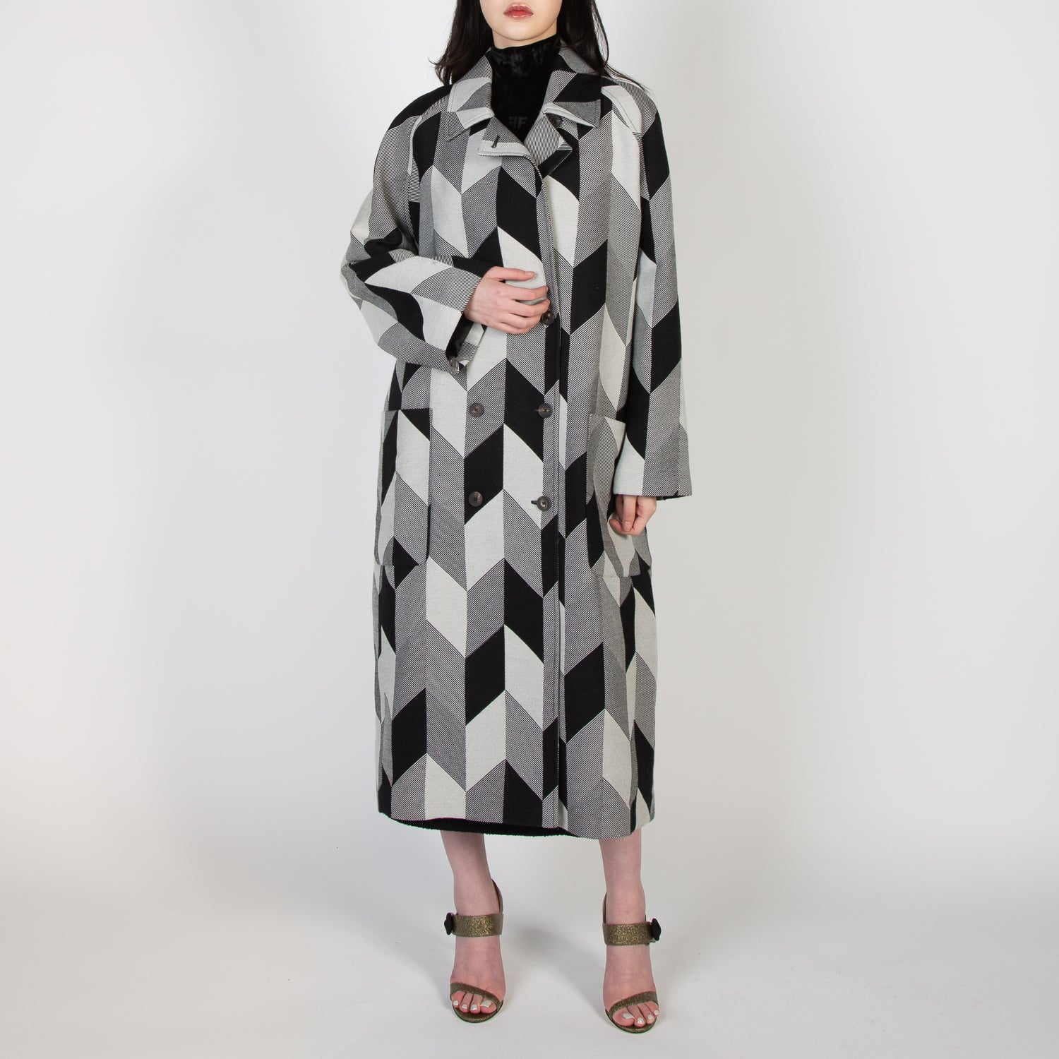 double breast black and white checkered coat by Frenken at Secret Location concept store vancouver canada