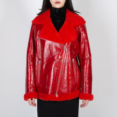 Red monotone leather shearling coat by Frenken at Secret Location