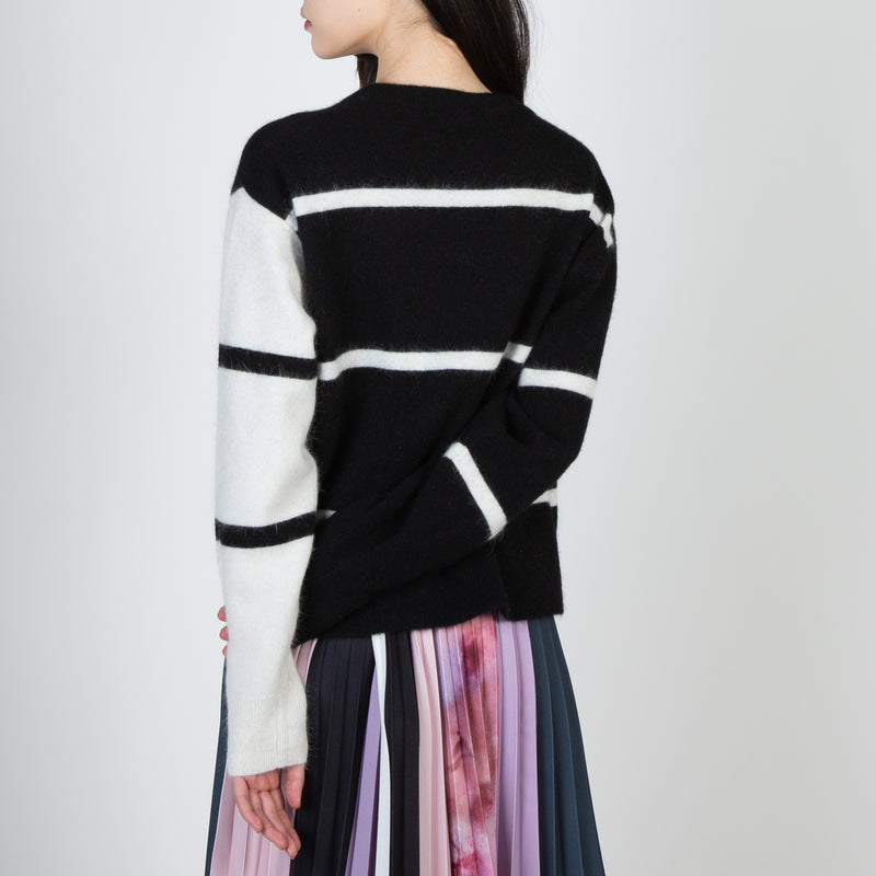 Cozy black and white stripe wool pullover sweater by Frenken at Secret Location