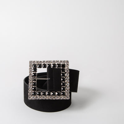 Jewelled square crystal belt  in black leather by Alessandra Rich at Secret Location
