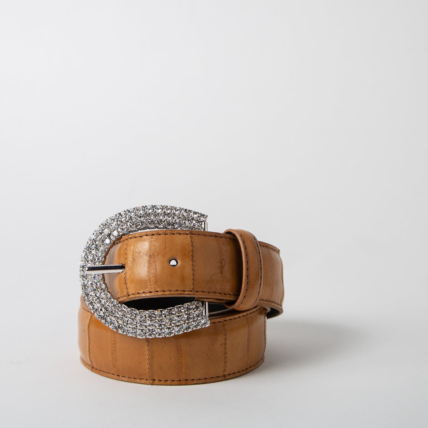 Crystal and brown leather belt by Alessandra Rich at Secret Location