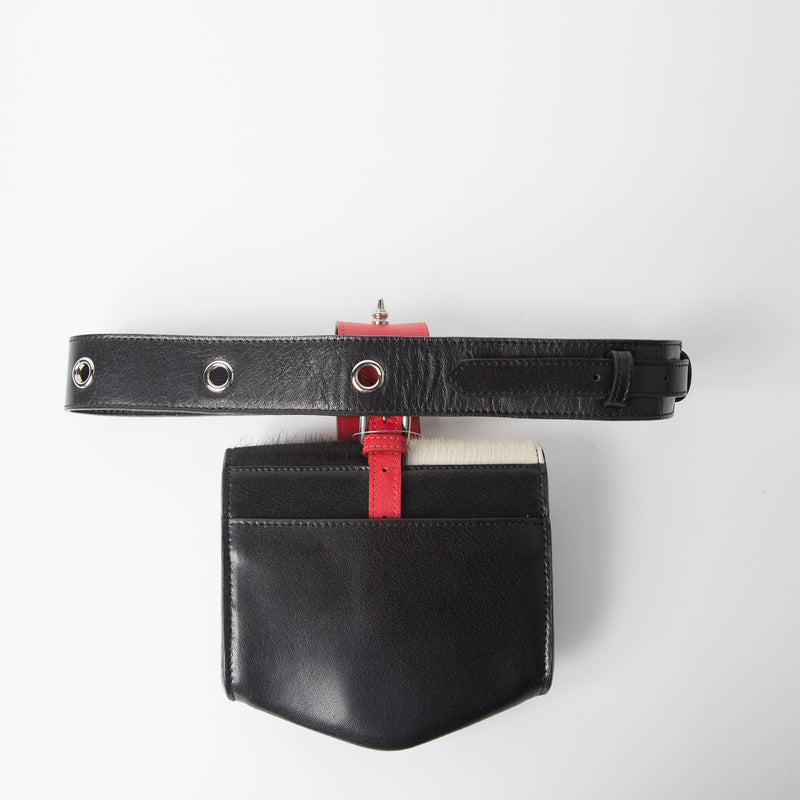 Multi coloured leather belt bag with detachable pocket by Okhtein at Secret Location