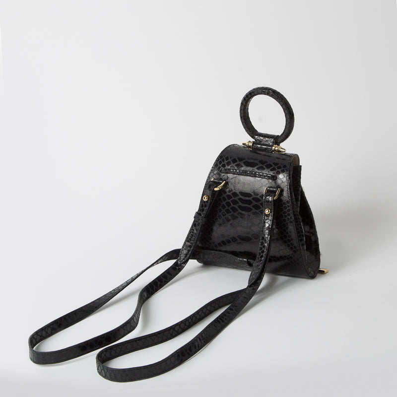 Mini bag with multi-straps in black python print by Okhtein at Secret Location