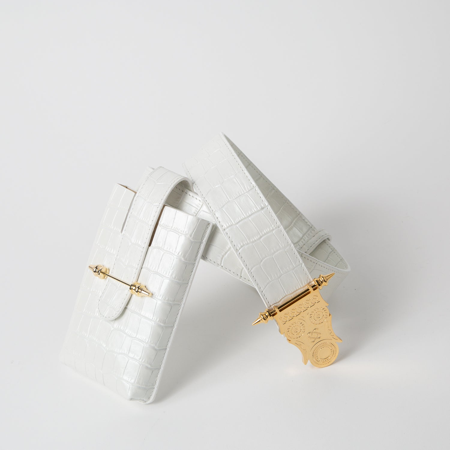White belt bag with crocodile print leather by Okhtein at Secret Location
