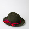 Green Fedora hat in fur felt by SuperDuper Hats at Secret Location