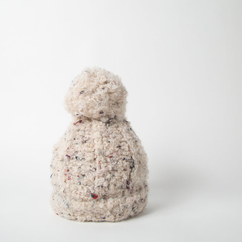 Wool blend beanie with pom-pom in cream by SuperDuper Hats at Secret Location
