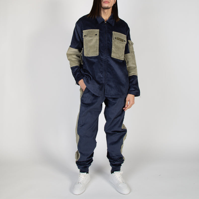 Corduroy sweatpants in navy and green by Blue Marble at Secret Location