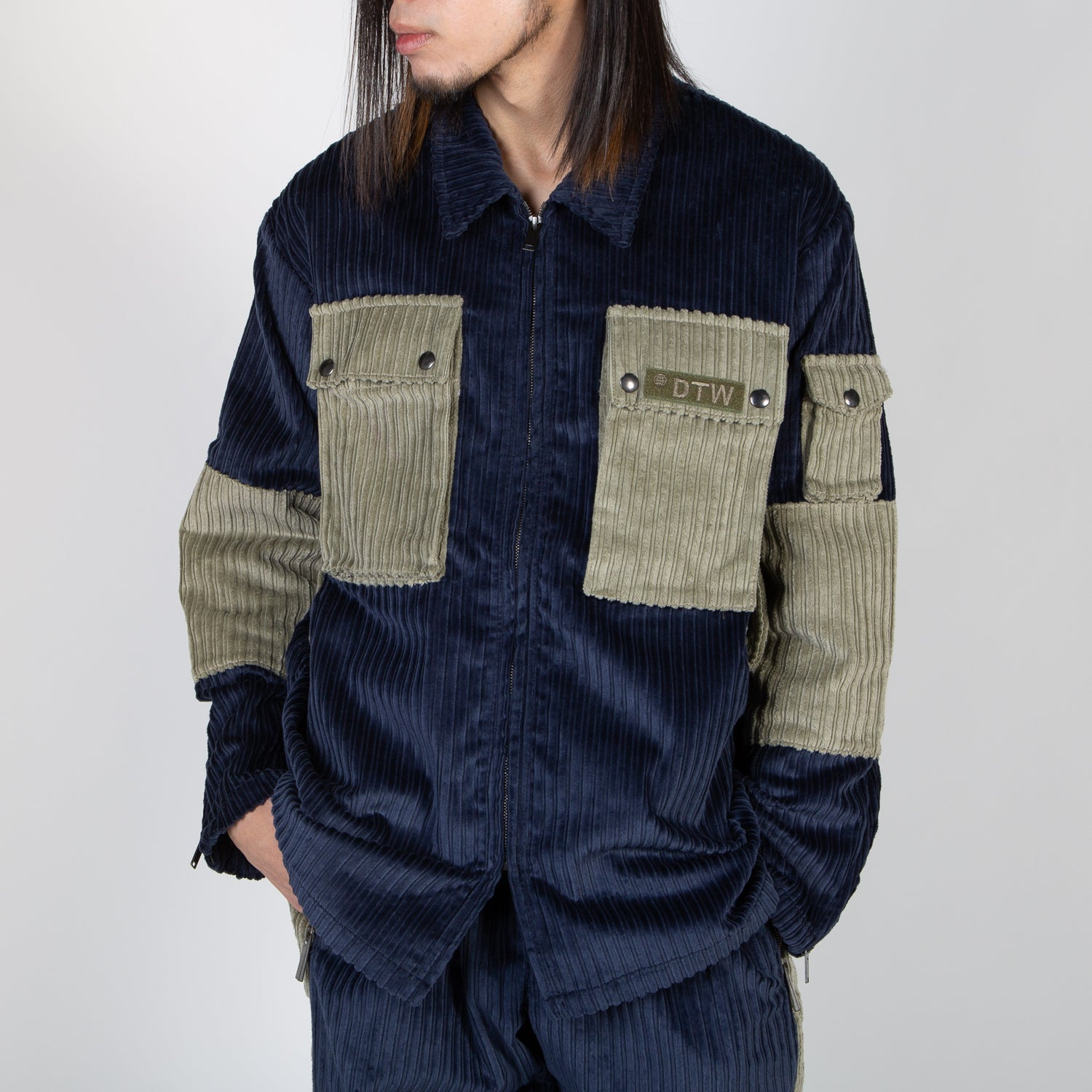 Corduroy zipper shirt navy and green by Blue Marble at Secret Location
