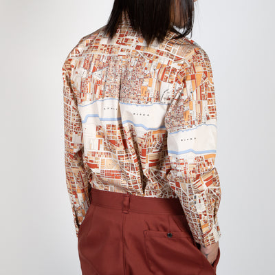 Printed Map Button Up Shirt