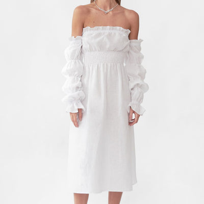 michelin linen dress in white by sleeper at secret location concept store