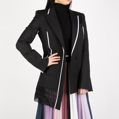 asymmetric blazer in black & white by Ssheena at Secret Location