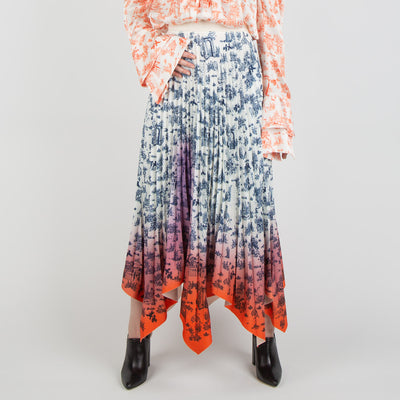 pleated floral skirt in blue and orange by Ssheena at Secret Location