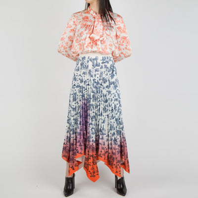 Pleated Floral Skirt