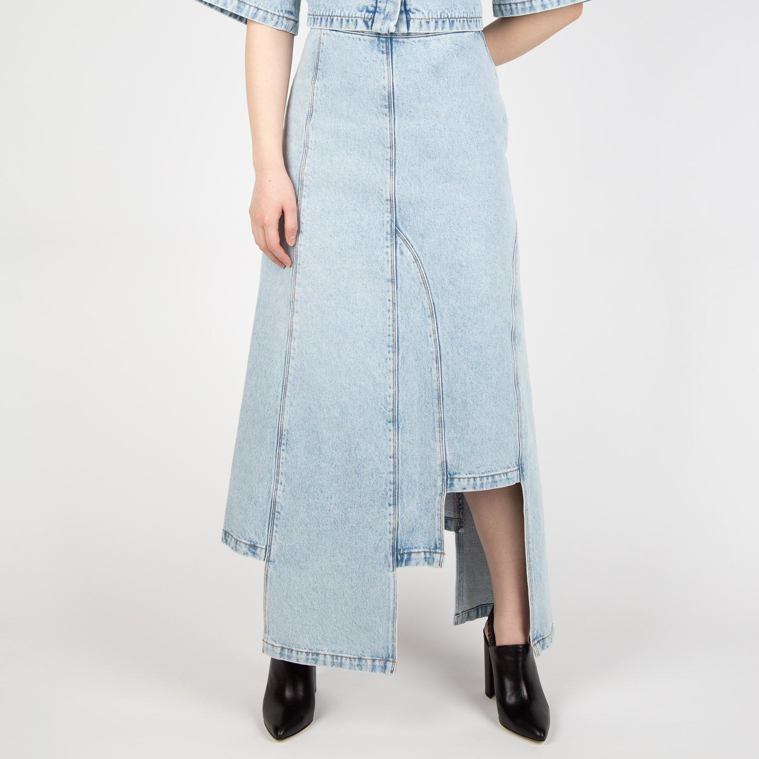 asymmetric denim skirt by Ssheena at Secret Location concept store
