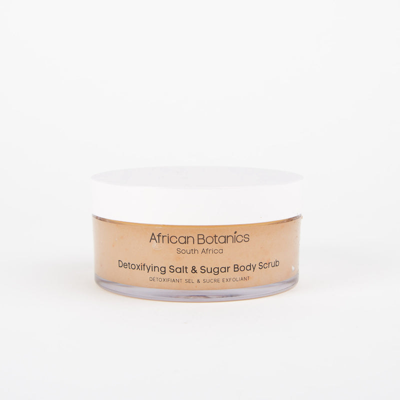 marula detoxifying salt & sugar body scrub by African Botanics at Secret Location