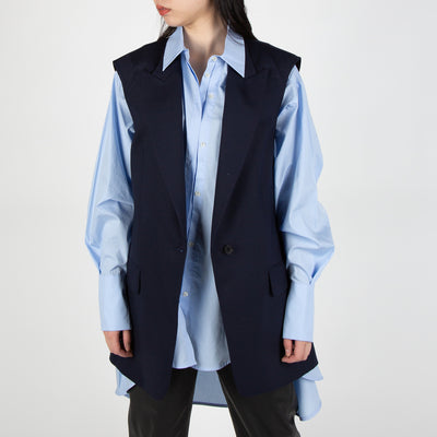 navy sleeveless blazer vest by Frenken at Secret Location