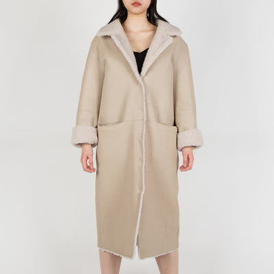 reversible leather coat in beige by Frenken at Secret Location