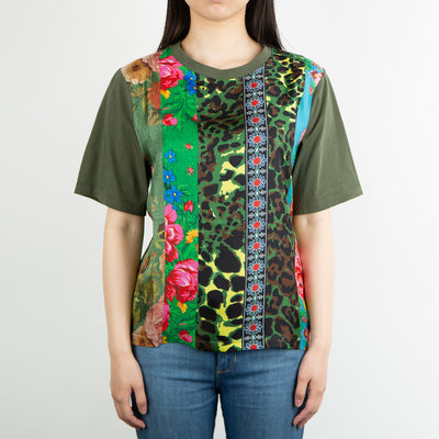 printed patchwork t-shirt in green by Pierre Louis Masica at Secret Location Concept Store