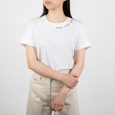 woven white cotton shirt with phrase by Secret Location