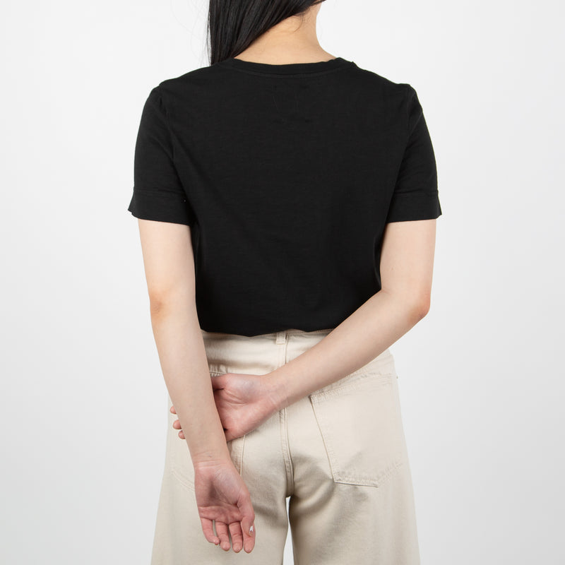 black woven cotton shirt with phrase by Secret Location