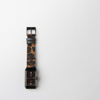 rose gold and black dial watch with cheetah straps by March Lab at Secret Location Concept Store