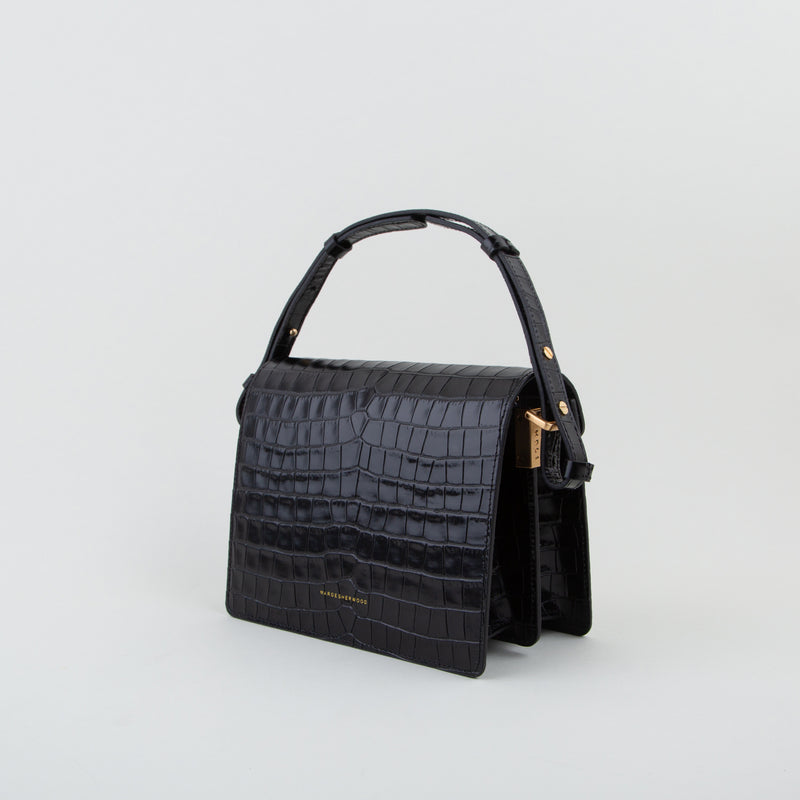 luxury leather bag in black croc by Marge Sherwood at Secret Location Concept Store
