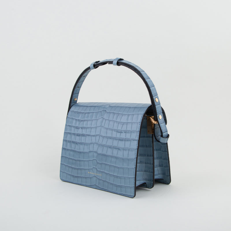 luxury leather bag in light blue croc by Marge Sherwood at Secret Location Concept Store